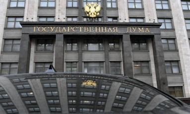 Prédio da Duma, o parlamento russo. Deputado de partido nacionalista foi acusado de assediar jornalistas Foto: VASILY MAXIMOV / AFP