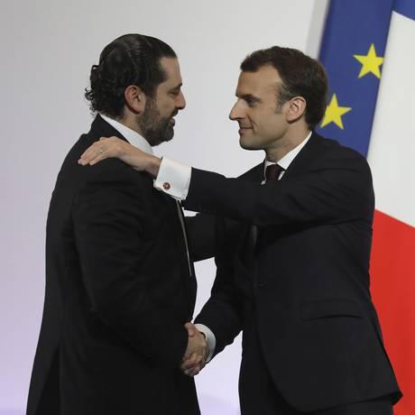 O premier libanês Saad al-Hariri e o presidente francês Emmanuel Macron Foto: Ludovic Marin / AP
