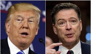 O presidente dos EUA, Donald Trump, e o ex-diretor do FBI, James Comey Foto: AP