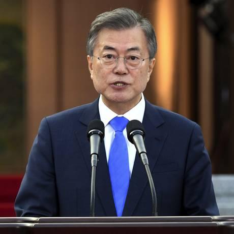 O presidente sul-coreano Moon Jae-in Foto: AP
