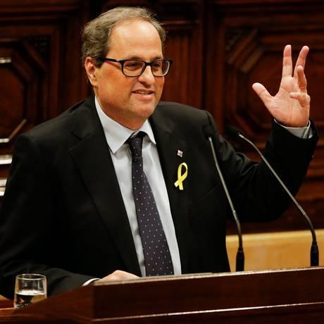 O candidato à Presidência regional da Catalunha, Quim Torra Foto: PAU BARRENA / AFP
