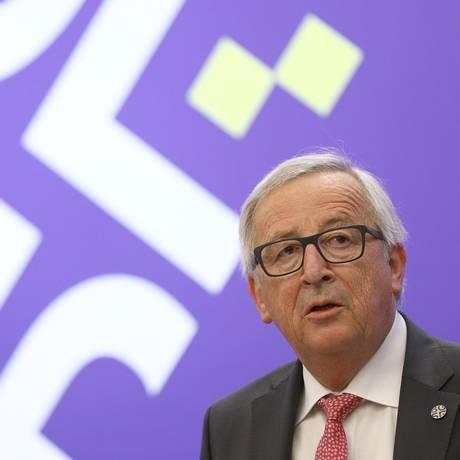 O presidente da Comissão Europeia, Jean-Claude Juncker, em coletiva de imprensa após cúpula de lideranças da UE em Sofia, na Bulgária Foto: STOYAN NENOV / REUTERS