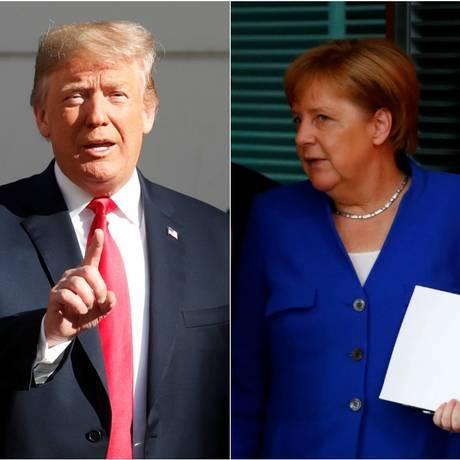 O presidente americano, Donald Trump, e a chanceler alemã, Angela Merkel Foto: Reuters