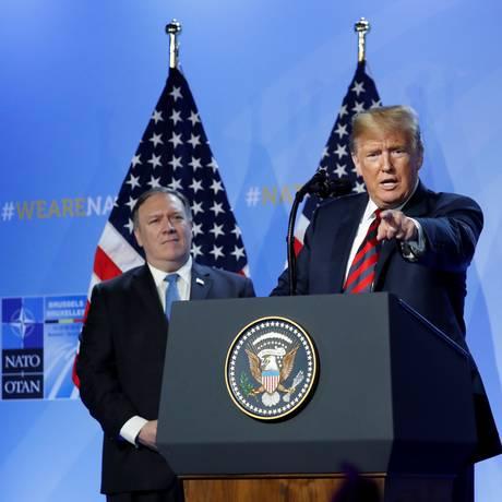 O presidente americano, Donald Trump, em entrevista coletiva após cúpula da Otan Foto: KEVIN LAMARQUE / REUTERS
