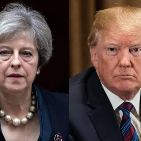 A premier britânica, Theresa May, e o presidente americano, Donald Trump Foto: AFP