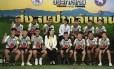 Os 12 meninos tailandeses e o treinador de futebol falam à imprensa após alta no hospital Foto: LILLIAN SUWANRUMPHA / AFP