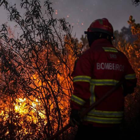 Bombeiro combate o fogo na floreste em Monchique, Portugal Foto: CARLOS COSTA / AFP
