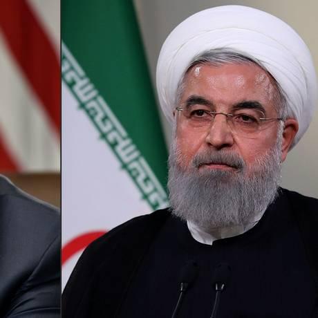 Presidente americano Donald Trump e o presidente iraniano Hassan Rouhani Foto: AFP