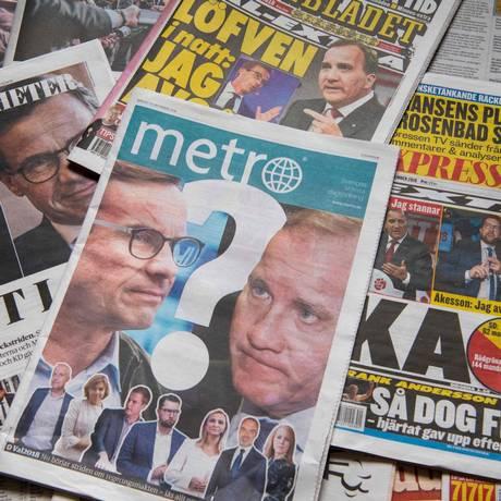 Jornais suecos do dia seguinte às eleições expõem o cenário de incertezas da política no país Foto: JONATHAN NACKSTRAND / AFP