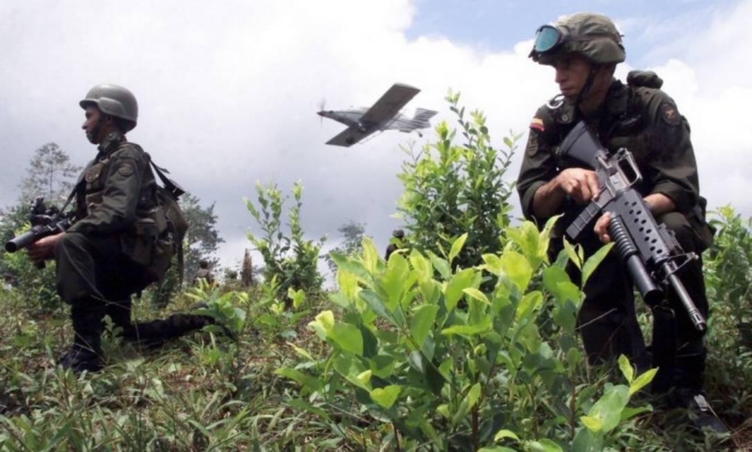 Forças colombianas anti-narcóticos trabalham enquanto um avião pulveriza a plantação de coca próxima a Tumaco, no sudoeste de Bogotá, na Colômbia Foto: AP