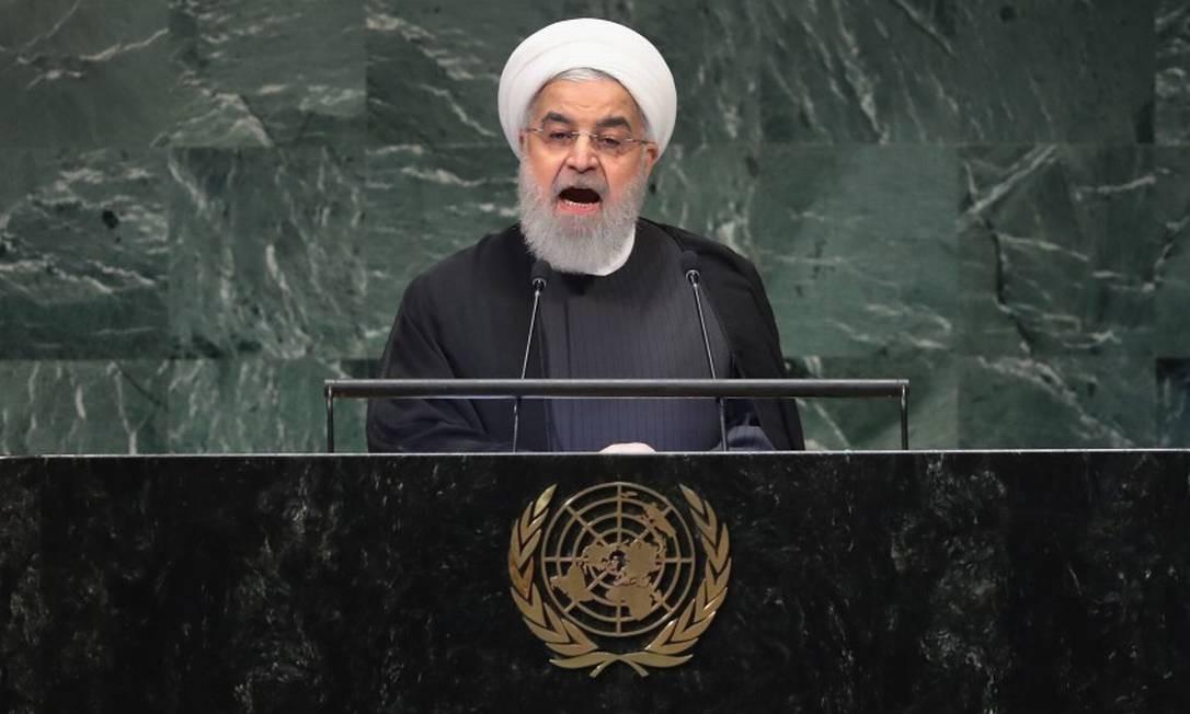 Hassan Rouhani discursou na tarde desta terça-feira na sede da ONU em Nova York Foto: JOHN MOORE / AFP
