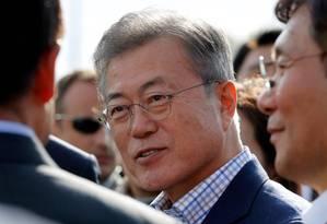 O presidente sul-coreano Moon Jae-in em Paris neste domingo, onde se encontra como parte de uma visita oficial de três dias Foto: FRANCOIS GUILLOT / AFP