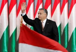 O primeiro-ministro Viktor Orbán em uma comemoração do aniversário de 62 anos da Revolução Húngara de 1956 Foto: BERNADETT SZABO / REUTERS