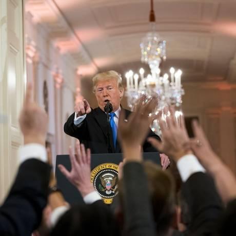 Presidente Donald Trump durante coletiva na Casa Branca Foto: DOUG MILLS / Agência O Globo