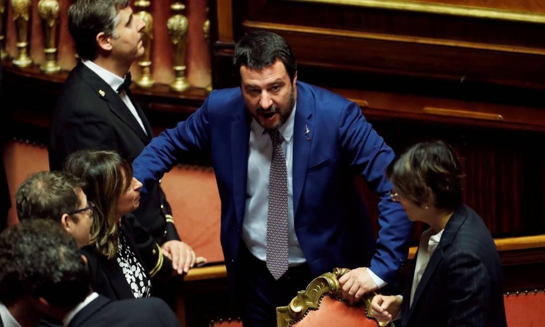 O vice-primeiro-ministro Matteo Salvini: previsões orçamentárias mantidas, apesar de objeções da Comissão Europeia Foto: REMO CASILLI / REUTERS/7-11-18