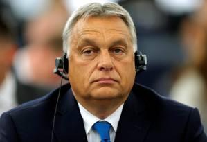 O primeiro-ministro húngaro Viktor Orbán no Parlamento Europeu em Estrasburgo, França, no dia 11 de setembro de 2018 Foto: VINCENT KESSLER / Reuters