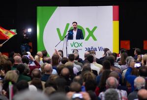 Comício do Vox, partido de ultradireita espanhol que conquistou 12 assentos na Andaluzia Foto: Reproduçaõ do Twitter