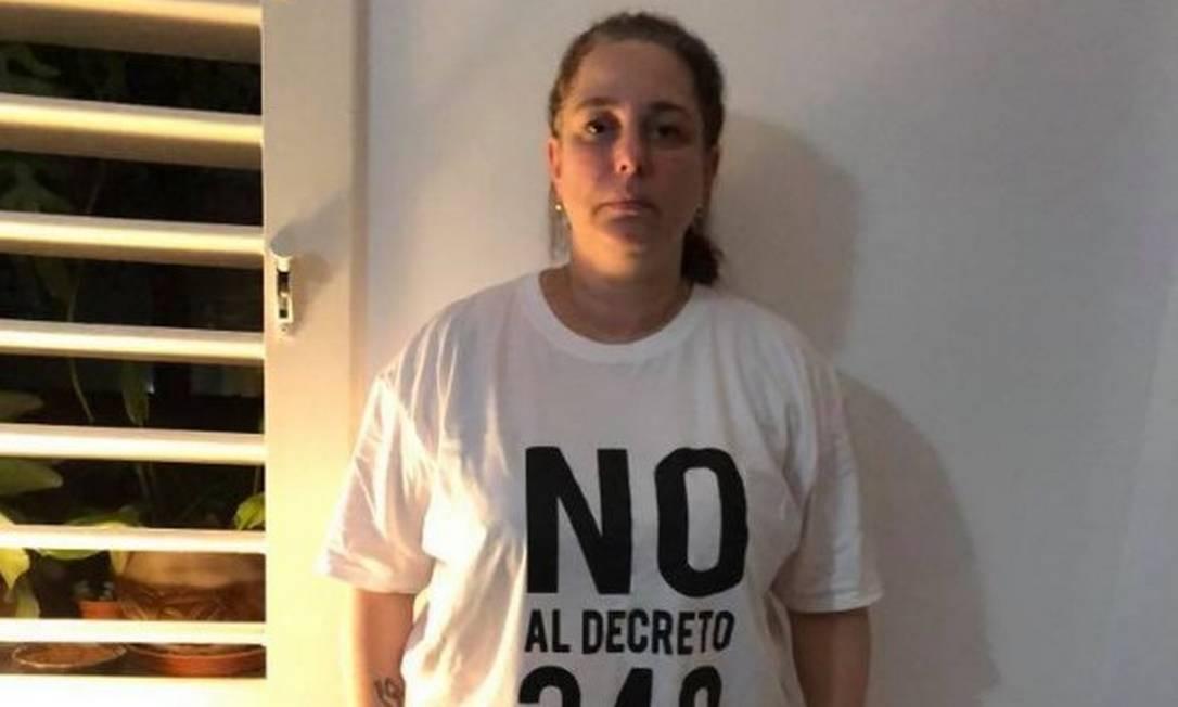 Tania Bruguera protestou contra decreto de governo de Cuba no Facebook Foto: Reprodução/Facebook
