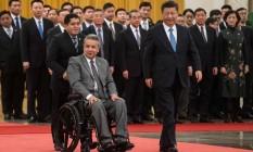 O equatoriano Lenín Moreno é recebido em Pequim pelo chinês Xi Jinping Foto: FRED DUFOUR/AFP/12-12-18