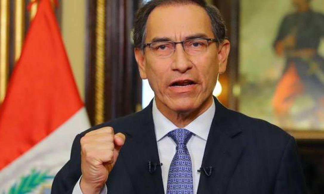 O presidente peruano, Martin Vizcarra, que teve o seu referendo aprovado pela população peruana em dezembro Foto: AFP