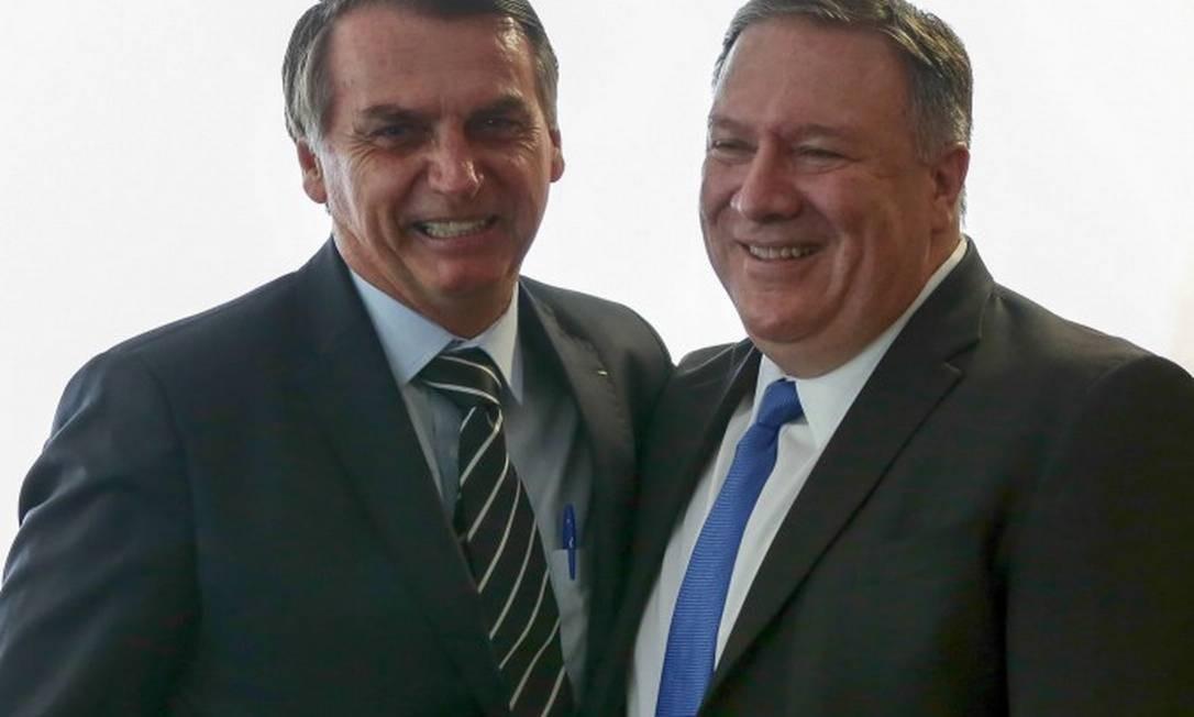 O presidente Jair Bolsonaro e o secretário de Estado americano, Mike Pompeo, em Brasília no último dia 2 Foto: MARCOS CORREA/AFP/2-1-19