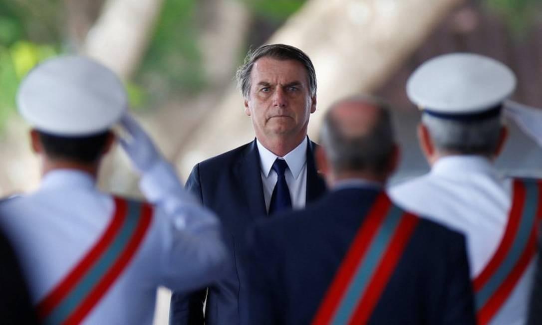 O presidente Jair Bolsonaro, nesta semana, em cerimônia da Marinha Foto: ADRIANO MACHADO/REUTERS/9-1-19