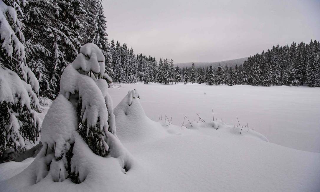 Lago no sul da Alemanha ficou completamente coberto de neve NICOLAS ARMER / AFP