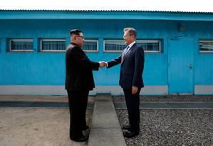 O norte-coreano Kim Jong-un e o líder do Sul, Moon Jae-in: três cúpulas ao longo de 2018 Foto: Pyeongyang Press Corps/AFP/18-9-18