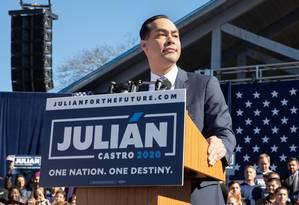 Julián Castro anuncia candidatura em San Antonio, sua cidade natal Foto: SUZANNE CORDEIRO/AFP