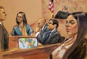 Lucero Guadalupe Sanchez Lopez, amante de El Chapo, testemunha enquanto a mulher do traficante Emma Coronel a observa da galeria, em um tribunal no Brooklyn Foto: JANE ROSENBERG / REUTERS 17-01-19