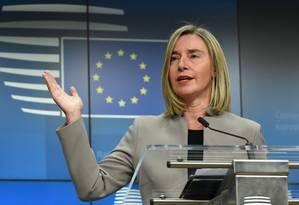 A alta representante da UE para Relações Exteriores, Federica Mogherini: bloco quer contribuir para diálogo na Venezuela Foto: JOHN THYS/AFP