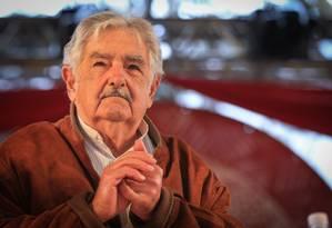 Pepe Mujica ex-presidente do Uruguai durante a II Feira Nacional da Reforma Agrária no Parque da Água Branca em maio de 2017 em São Paulo Foto: Parceiro / Agência O Globo