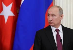 O presidente russo Vladimir Putin após um encontro com o presidente turco no dia 23 de janeiro em Moscou Foto: SPUTNIK / REUTERS