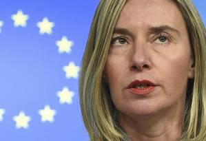Federica Mogherini durante uma coletiva de imprensa em Bruxelas no dia 21 de janeiro de 2019 Foto: JOHN THYS / AFP