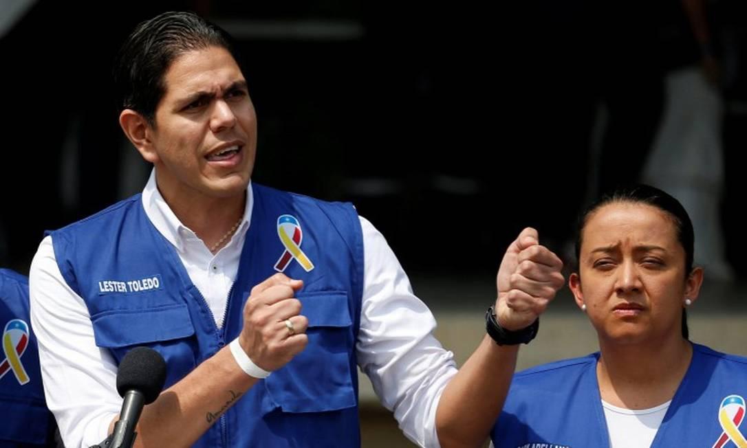 Lester Toledo, coordenador de ajuda humanitária designado pelo opositor Juan Guaidó,em visita à Cúcuta, na Colômbia Foto: LUISA GONZALEZ/REUTERS/8-2-2019