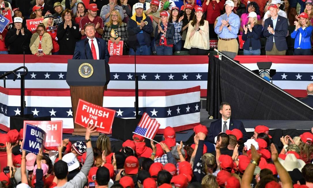 O presidente Donald Trump fala durante um comício em El Paso, Texas Foto: NICHOLAS KAMM / AFP 11-02-19