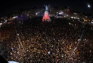 Protestos na Praça da República contra o antissemitismo Foto: PHILIPPE WOJAZER / REUTERS