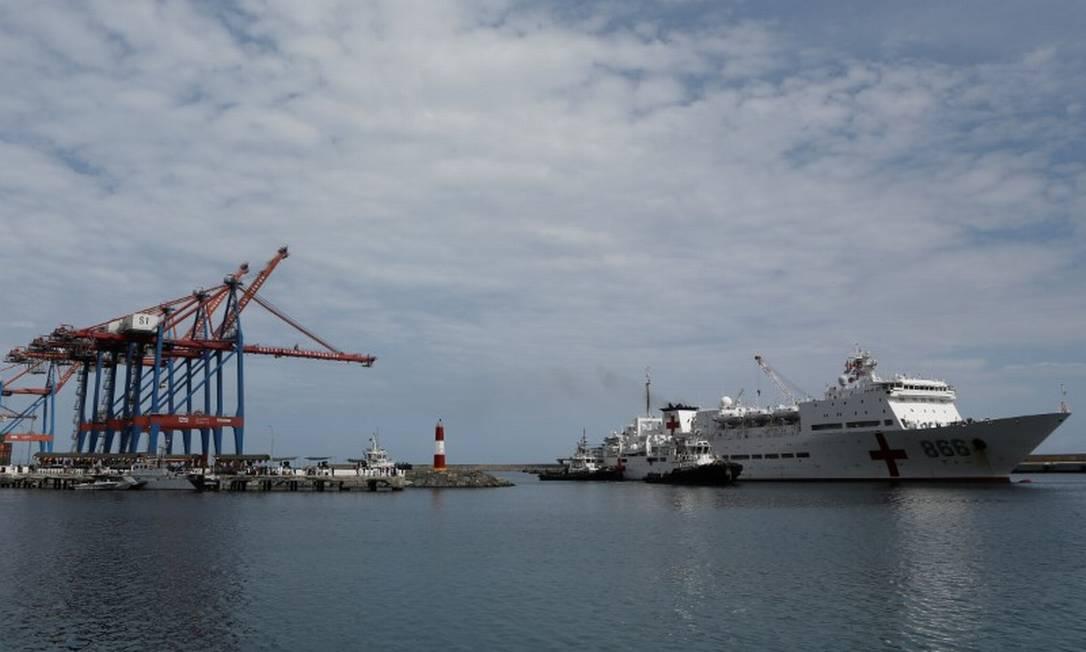 Navio chinês Arca da Paz ancorado em La Guaira, na Venezuela, no dia 22 de setembro de 2018 Foto: Stringer . / Reuters -22-09-18