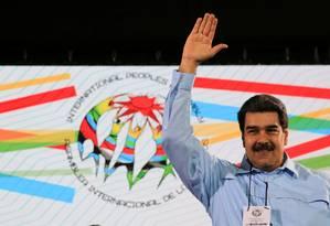 Presidente Nicolás Maduro em reunião com representantes de seus países aliados em Caracas Foto: Palácio de Miraflores / REUTERS/26-02-2019