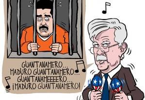 Caricatura de John Bolton dançando e de Nicolás Maduro preso, pelo cartunista venezuelano Fernando Pinilla Foto: Cortesia de Fernando Pinilla / REUTERS