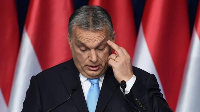 O premier húngaro concede discurso no dia 10 de fevereiro em Budapeste Foto: ATTILA KISBENEDEK / AFP 10-02-19
