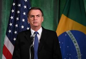Bolsonaro discurso na Câmara de Comércio dos EUA, na noite de segunda Foto: ERIN SCOTT / REUTERS/18-3-2019