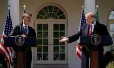 Os presidentes do Brasil, Jair Bolsonaro, e dos EUA, Donald Trump, em entrevista coletiva na Casa Branca Foto: KEVIN LAMARQUE / REUTERS 19-03-2019
