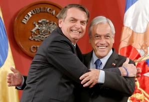 Sebastián Piñera e Jair Bolsonaro durante encontro em Santiago, no Chile Foto: RODRIGO GARRIDO/REUTERS/23-3-2019