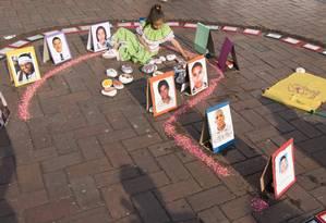 Manifestação de familiares de desaparecidos na Colômbia Foto: Rebeca Lucía Galindo / Divulgação/CICV