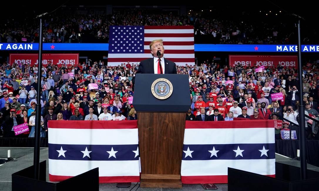 O presidente americano Donald Trump no primeiro comício depois do resultado da investigação sobre a Rússia Foto: JOSHUA ROBERTS / REUTERS 28-03-19