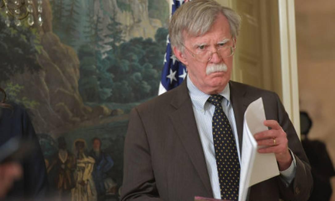 O conselheiro de Segurança Nacional americano John Bolton, que nesta sexta-feira recomendou 'com veemência que atores externos ao hemisfério ocidental não utilizem recursos militares na Venezuela' Foto: AFP