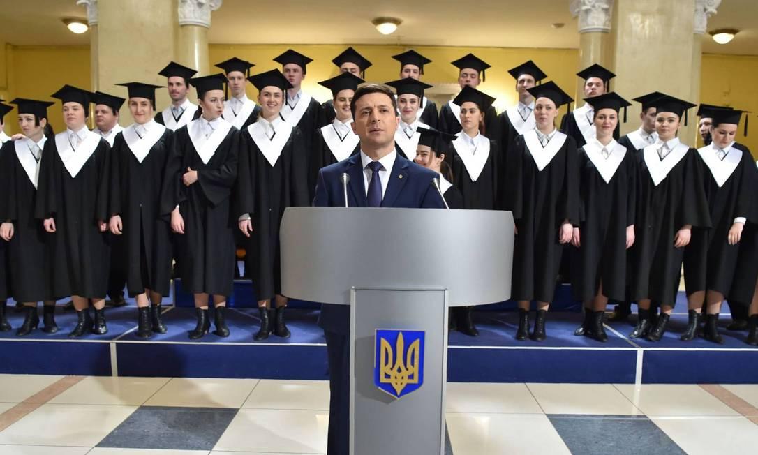O ator e candidato presidencial ucraniano Volodymyr Zelenskiy em 6 de março, em Kiev Foto: Sergei Supinsky / AFP 6-03-19
