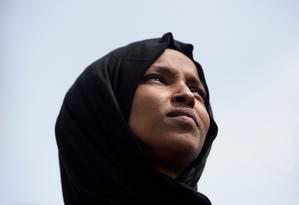 A deputada democrata Ilhan Omar, uma das duas muçulmanas eleitas para o Congresso americano Foto: BRENDAN SMIALOWSKI/AFP/15-3-2019