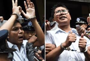 Montagem mostrando os jornalistas Kyaw Soe Oo, à esquerda, e Wa Lone após serem condenados em um tribunal em Rangum Foto: YE AUNG THU / AFP